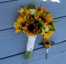 silk wedding flower packages silk wedding flowers sunflower bridal bouquet package 8 pieces