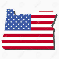 Map Of Oregon State by Map Of The State Of Oregon And American Flag Illustration Stock