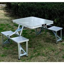 aluminum portable picnic table outsunny outdoor silver aluminum portable folding c suitcase