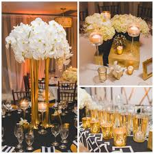 black and gold centerpieces black and white wedding reception lovely real wedding