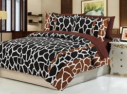 dovedote cotton brown black giraffe animal print bedspread with