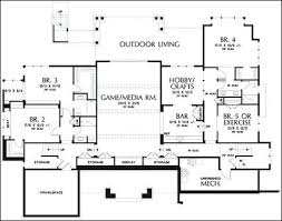 one story house plans with basement one story 3 bedroom 4 bath mediterranean style house plan house
