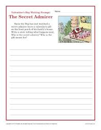 valentine u0027s day worksheet sectret admirer writing prompt 4th