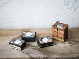 Wood Home Decor Reclaimed Wood Tea Light Candle Holders Wooden Candle Blocks