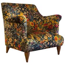 Yellow Velvet Armchair Goddard Armchair In Liberty Faria Flowers Marigold Velvet For Sale
