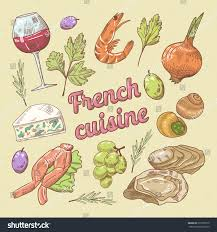 french cuisine doodle wine cheese hand stock vector 619799210