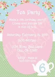 vintage tea party invitation girls shabby chic birthday