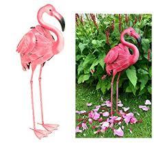 east2eden pink flamingo metal indoor outdoor pond garden ornament