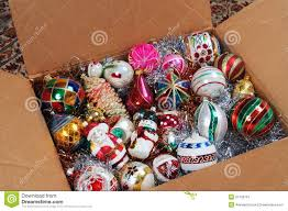 ornaments in cardboard box stock image image 31759151