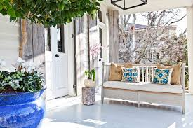 painted bench ideas porch shabby chic style with whitewashed porch