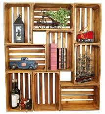 Wooden Crate Shelf Diy by Ahh So Pretty With The Stain And Those Lights Wooden Crates
