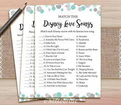 Wedding Shower Games Disney Love Songs Bridal Shower Game Printable Mint Turquoise