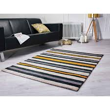Modern Stripe Rug by Tribeca Black Gold Striped Rug By Flair Rugs Therugshopuk