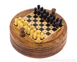 Colorado Travel Chess Set images 5 inch round pegged sheesham travel chess set rcc031 12 95 jpg