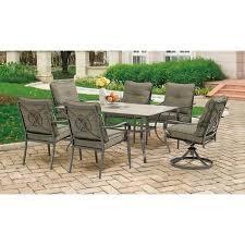 Patio Furniture Woodland Hills Mainstays Charleston Park 7 Piece Dining Set Gray Walmart Com