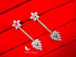 hanging earrings e76 party wear pink zircon hanging earrings for women