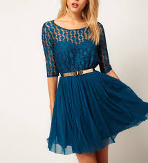blue lace chiffon splicing half sleeve pleated dress dresses