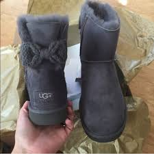 ugg mini bailey bow grey sale 52 ugg shoes ugg authentic mini bailey knit bow boots sz 9