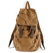 rugged canvas backpack mens with leather trims vintage rugged