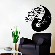 wall decals tree bonsai decal vinyl sticker yin yang chinese