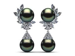 what size diamond earrings 14k white gold diamond black green tahitian pearl cluster