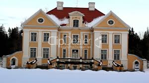 the view of a big old manor house in estonia baltic royalty free