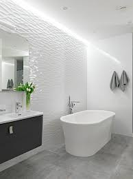 contemporary loft bathroom with feature wall being finished in a