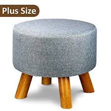 Grey Ottoman Uk by Tribesigns Modern Wood Upholstered Footstool Ottoman Round Pouffe