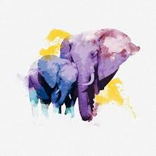 sweet purple watercolor elephant family tattoo design