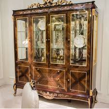 yb70 1antique solid wood display cabinet with glass door with