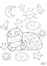 baby giraffe sleeping coloring free printable coloring pages