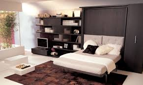 Bedroom Wall Units Wardrobe Contemporary Bedroom With White Wall Decor And Black Wooden