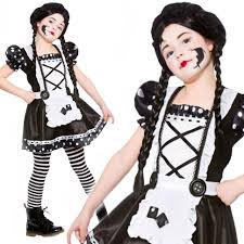 gothic halloween costumes for girls girls kids black u0026amp white gothic broken doll fancy dress