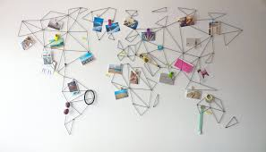 This abstract world map is designed to keep your holiday memories