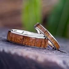 rings wooden images Wooden wedding ring set koa wood rings 14k white gold ring set jpg