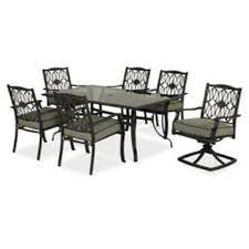 Hampton Bay Patio Dining Set - decorating black iron dining set with grey lowes patio cushions