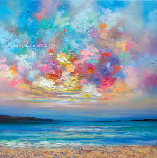 landscape painting artists beautiful and sunset sky with clouds landscape