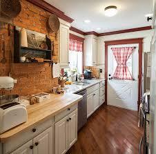 kitchen refreshing small kitchen with brick wall and backsplash