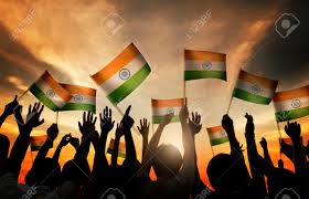 Flags In Group Of People Waving Indian Flags In Back Lit Stock Photo