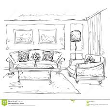 room interior sketch hand drawn sofa and chair stock vector