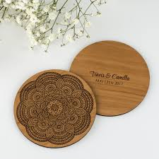 wedding coaster favors limited edition mandala inspired wooden wedding coaster