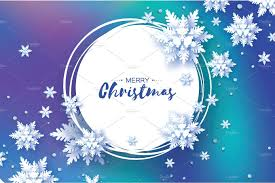 blue merry christmas greetings card snowfall paper cut snow