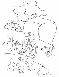 bullock cart standing road coloring pages download free
