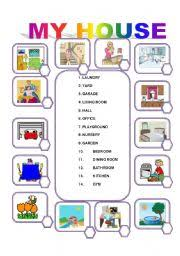 rooms in the house english worksheets match the rooms in the house