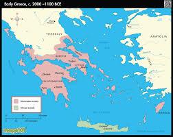 Sparta Greece Map by Early Greece C 2000 1100 Bce Map Maps Com