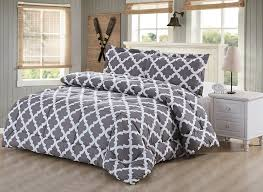 Goose Down Comforter Queen Amazon Com Printed Comforter Set Grey Queen With 2 Pillow