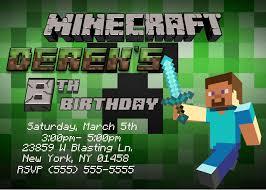 Invitation Card Example Minecraft Birthday Party Invitations Dhavalthakur Com