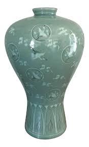 Celadon Vase Vintage Korean Celadon Crackle Glaze Crane Vase Chairish