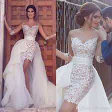 high wedding dresses discount o neck sheer sleeve lace with tulle detachable