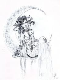 moon goddess sketch drawing by kd neeley